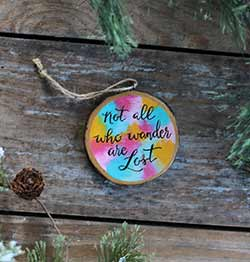 Not All Who Wander Are Lost Wood Slice Ornament (Personalized)