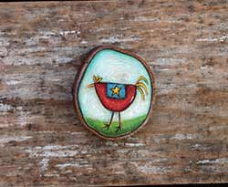 Folk Art Chicken Wood Slice Ornament