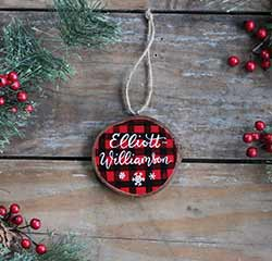 Custom Buffalo Plaid Wood Slice Ornament