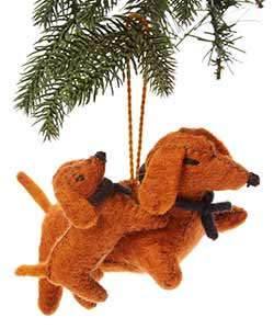 Dachshund Mama & Baby Wool Ornament