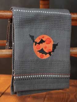 Spooky Bat Embroidered Kitchen Towel