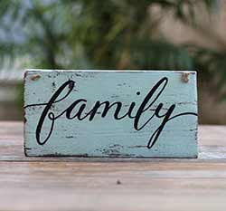 Family Distressed Sign (Beach Glass Blue)