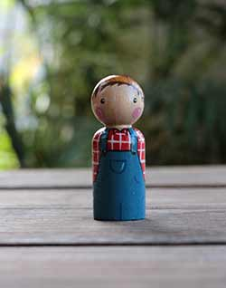 Farmer Peg Doll (or Ornament)