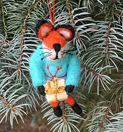 Fox in Blue Sweater Wool Ornament