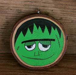 Frankenstein Wood Slice Ornament (Personalized)