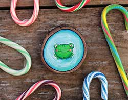 Frog on Blue Wood Slice Ornament (Personalized)