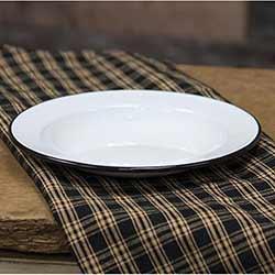 White Enamel Salad Plate with Black Rim