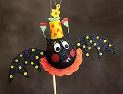 Hanging Bat Ornament - Yellow