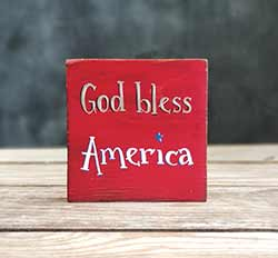 God Bless America Shelf Sitter Sign - Red