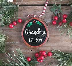 Grandma Est Wood Slice Ornament (Personalized)