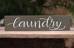 Laundry Wood Sign - Army Green
