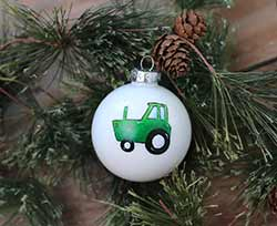Tractor Personalized Glass Ornament