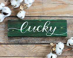 Lucky Hand Lettered Wood Sign