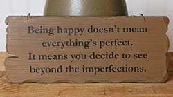 Being Happy Tattered Wood Sign - Mustard