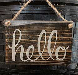 Hello Hand Lettered Sign (Onyx)