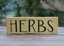 Herbs Hand Lettered Wood Sign (Yellow and Green)