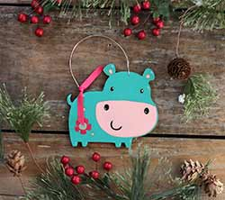 Cute Hippo Ornament (Personalized)