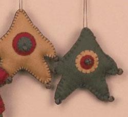 Green Wool Felt Star Ornament with Rusty Bell