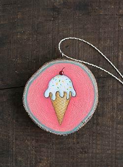 Ice Cream Cone Wood Slice Ornament (Personalized)