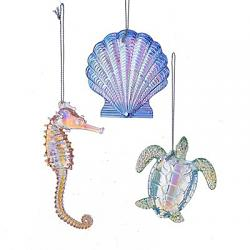 Iridescent Seashell, Turtle, or Seahorse Ornament