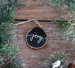 Joy Wood Slice Ornament - Script Lettering