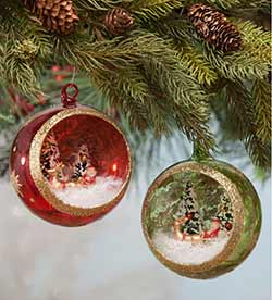 Santa's Visit Glass Indent Ornaments (Set of 2)