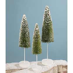 Snow Covered Green Bottle Brush Trees (Set of 3)