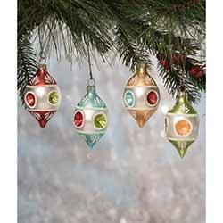 Vintage Teardrop Indent Ornaments (Set of 4)