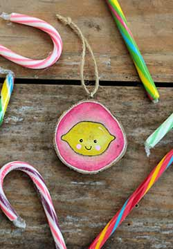 Happy Lemon Wood Slice Ornament