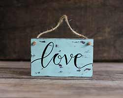 Love Custom Chippy Paint Wood Sign - Robin's Egg Blue