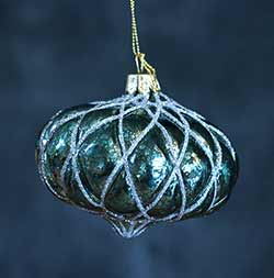 Aqua Blue Onion Shaped Glass Ornament