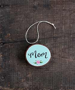 Mom with Rose Wood Slice Ornament (Personalized)