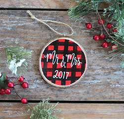 Mr. & Mrs. Christmas Buffalo Check Ornament (Personalized)