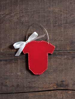 Baby Bodysuit Ornament - Red (Personalized)