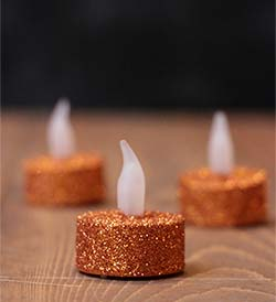Orange Glitter LED Tealight Candle