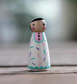 Cupcake Sprinkles Girl Peg Doll - Pastels (or Ornament)