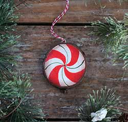 Peppermint Candy Wood Slice Ornament (Personalized)