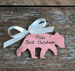 Baby Bear Ornament - Pink