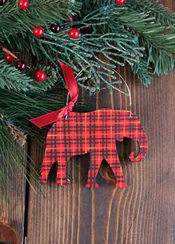 Tartan Plaid Elephant Ornament (Personalized)