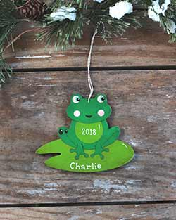 Frog on Lily Pad Personalized Ornament