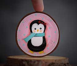 Penguin with Scarf Wood Slice Ornament (Personalized)