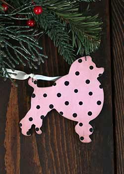 Pink Poodle Ornament (Personalized)