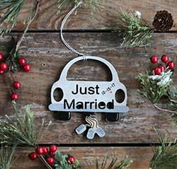 Just Married Car Ornament (Personalized)