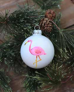 Flamingo Personalized Glass Ornament
