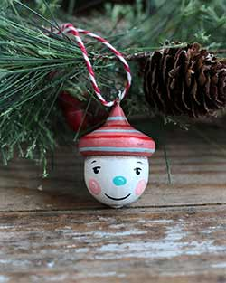 Retro Snowman Acorn Ornament with Striped Hat