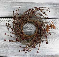 Burgundy Pip Berry & Rusty Star Small Wreath or Candle Ring (10 inch)
