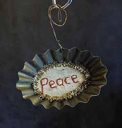Tart Tin Stitchery Ornament - Peace