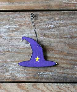 Purple Witch Hat Ornament with Star