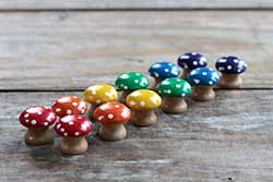 Rainbow Mushroom Sorting Set (12 pc) - Mini size