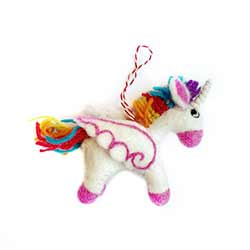 Rainbow Unicorn Wool Ornament